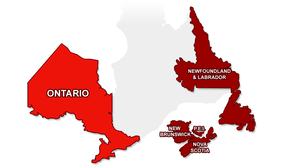 Ontario map selected