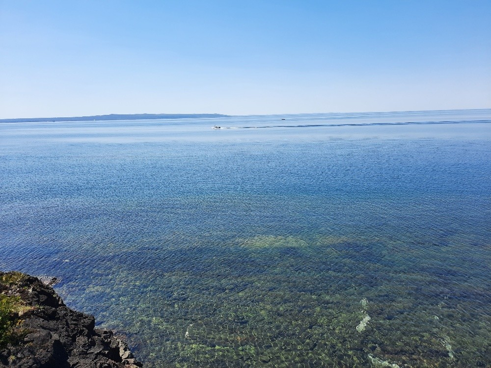 view to Michigan side and Whitefish Bay