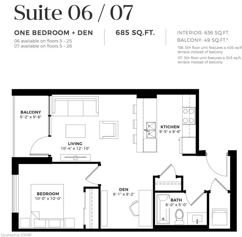 114-120 VICTORIA Street Unit# 707, Kitchener, Ontario (ID 40020416)