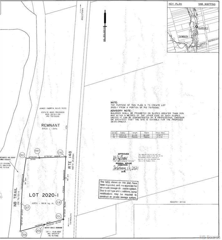 Lot 2020-1 Route 148, Taymouth, New Brunswick, Canada